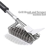 EOYIZW Grill Brush Scraper,Bristle Free Barbecue Cleaner,18 inch Stainless Steel BBQ Cleaning Brush Triple Head Scrubber
