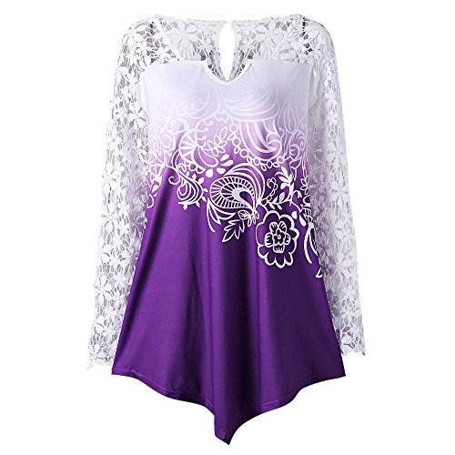 Chiffon Yoke Top (ZAFUL Women Plus Size Lace Long Sleeve Blouse Floral Printed Yoke Ombre Top Blouse(PURPLE 4XL))