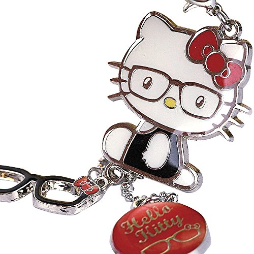 (Z122-B Cute Adorable Red Style Hello Kitty Glasses Charms Keychain Key Ring)