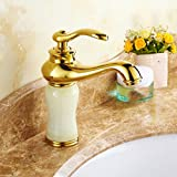 LDONGSH Copper Gold Hot And Cold Retro European Washbasin Sink Drawing Electroplating Mixing Faucet Tap