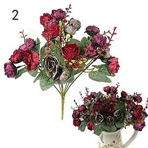 SoundsBeauty 1 Bouquet 21 Head Artificial Rose Silk Flower Leaf Home Party Wedding Decor 106