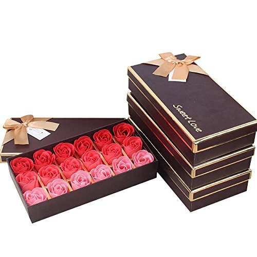 FTXJ Scented Rose Flower Petals Shape Bath Soap Wedding Party Decor (18pcs, Red)