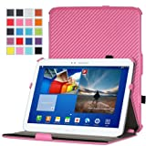 MoKo Slim-Fit Multi-angle Folio Cover Case for Samsung Galaxy Tab 3 10.1 inch GT-P5200 / GT-P5210 Android Tablet, Carbon Fiber PINK