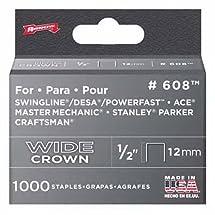 Arrow Fastener 608 Wide Crown Swingline Style Heavy Duty 1/2-Inch Staples, 1000-Pack