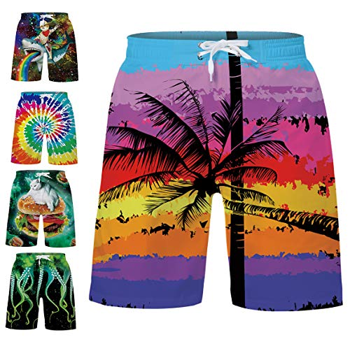 TUONROAD Modern Boy's Swimsuit Trunks Ombre Palm Lightweight and Breathable with Big Pocket Boardshorts for Homewear ()
