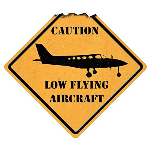Sporty's Indoor and Outdoor Caution Low Flying Aircraft Metal Sign Airplane Decor Aviation Wall Art ()