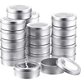 2 Ounce Metal Tin Cans Round Empty Container Cans with Clear Top for Kitchen, Office, Candles, Candies (24 Packs)