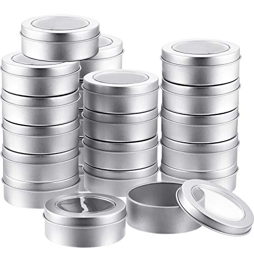 2 Ounce Metal Tin Cans Round Empty Container Cans with Clear Top for Kitchen, Office, Candles, Candies (24 Packs) (2 Large Tin Ounce)