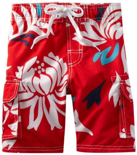 Kanu Surf Little Boys' Oahu Quick Dry Beach Swim Trunk, Red, Medium (5/6) ()