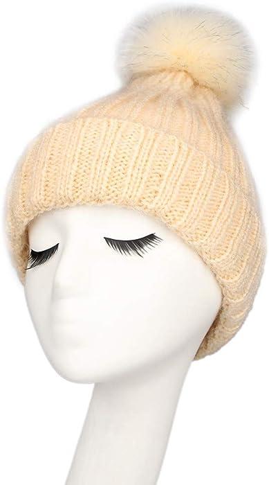 144cb4aa16459 Kim88 Women Caps and Hats Baggy Warm Crochet Winter Wool Knit Ski Beanie  Skull Slouchy (Beige) at Amazon Women's Clothing store: