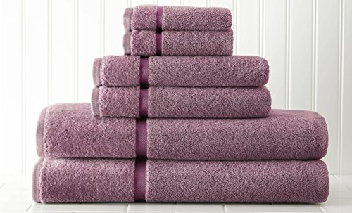 Luxury Spa Collection | 6-Piece Ultra Soft 650GSM 100% Combed Cotton Towel Set by Amrapur Overseas [Dusky (Dusky Orchid)
