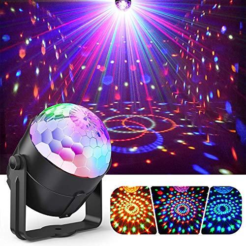 Party Ball Lights, Gvoo 5W RGB LED Sound Activated Rotating Crystal DJ Disco Lights Stage Lights with Remote Control for Party, KTV, Wedding, Bar and Celebration ()