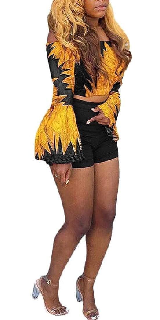YIhujiuben Womens Off Shoulder Floral Print Crop Top Short Pants Party Jumpsuit Romper 2 Piece Outfit