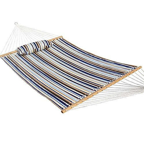 PG PRIME GARDEN Quilted Double Fabric Hammock, Hardwood Spreader Bars with Pillow,Outdoor Polyester by PG PRIME...