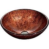 Vigo VG07028 Mahogany Moon Tempered Glass Vessel Sink, Copper