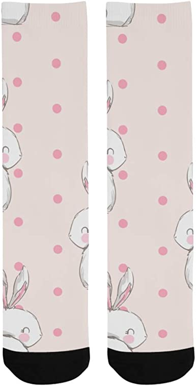 Bunny Cute Rabbit Pink Color Animal Crazy Soccer Dress Trouser Sock Women Botts