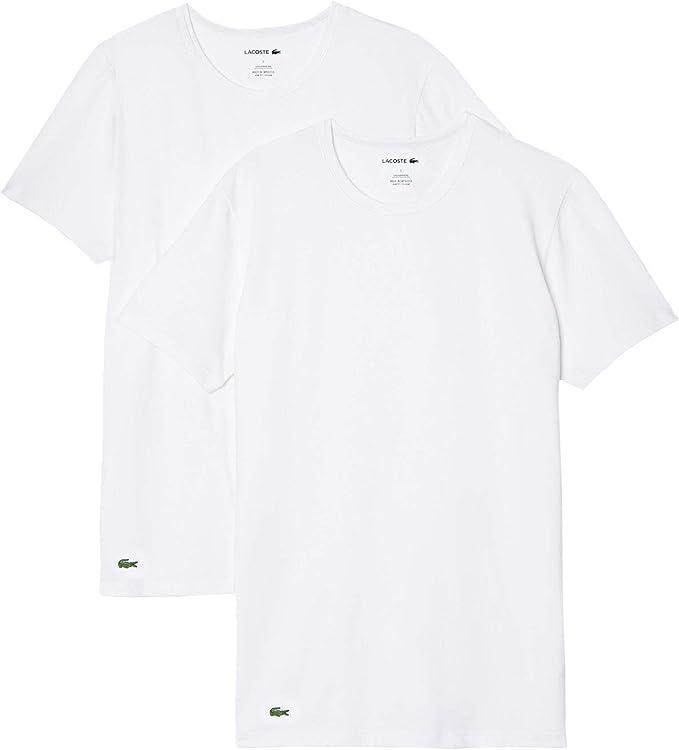 Lacoste 2-Pack Casual Stretch Algodón Algodón Camisetas De Cuello Redondo, Blanco: Amazon.es: Ropa y accesorios