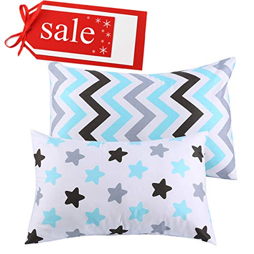 """Kids Toddler Pillowcases UOMNY 2 Pack 100% Cotton Pillowslip Case Fits Pillows sizesd 13 x 18"""" or 12x 16"""" for Kids Bedding Pillow Cover Baby Pillow Cases Stripes and Star from UOMNY"""