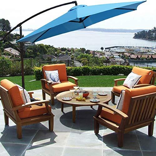 FRUITEAM 10-ft Offset Hanging Umbrellas, Outdoor Patio Garden Umbrellas Market Umbrella with Crank & Cross Base, Waterproof UV Protection Offset Cantilever Umbrella, Blue
