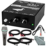 Rolls DU30B Microphone Preamp Audio Ducker and Deluxe Accessory Bundle W/ Samson Q4 Dynamic Microphone + More