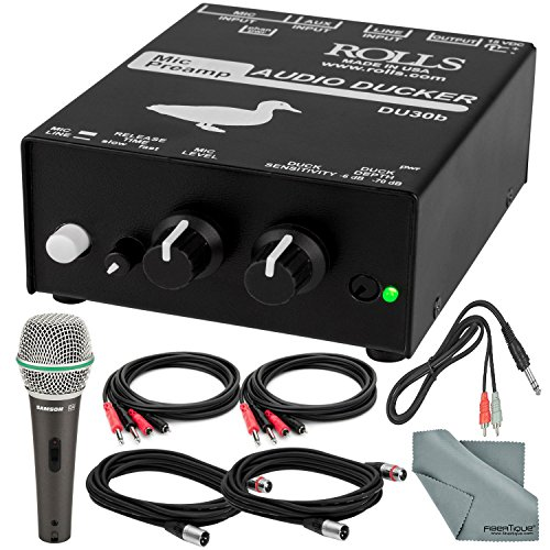 Rolls DU30B Microphone Preamp Audio Ducker and Deluxe Accessory Bundle W/Samson Q4 Dynamic Microphone + More from Photo Savings