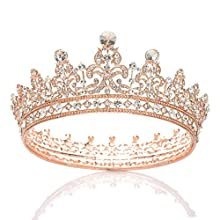 SWEETV Rhinestone Wedding Queen Crown for Women - Crystal Pageant Tiara Headband, Princess Crown Hair Accessories for Bride, Bridal Party Birthday Headpieces, Rose Gold