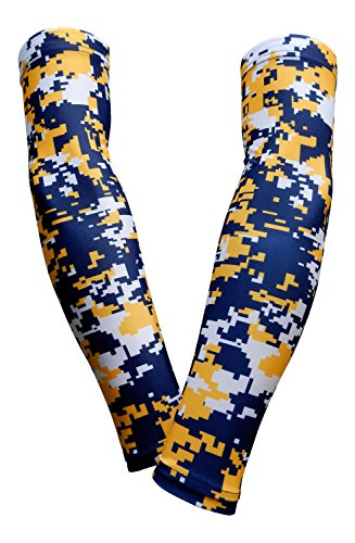PAIR - Sports Farm - Compression Elbow Arm Sleeves (ADULT MEDIUM, NAVY YELLOW DIGI CAMO)