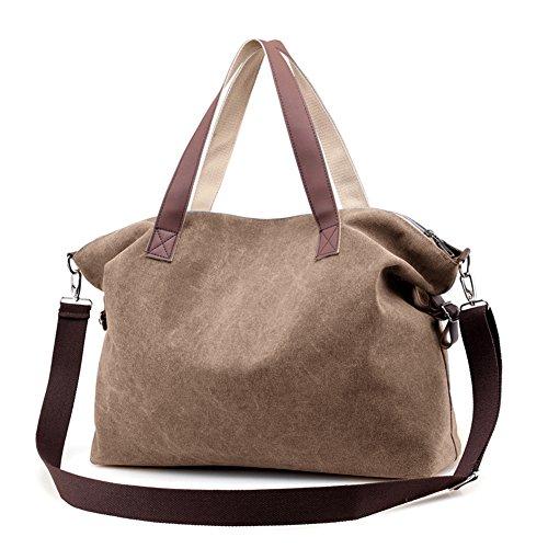 Women's Handbags,LOSMILE Shoulder Bags Top Handle Beach Tote Purse Crossbody Bag (Brown) (Zippered Cotton Tote Bag)