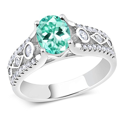 1.75 Ct Oval Blue Apatite 925 Sterling Silver (Apatite Sterling Silver Ring)