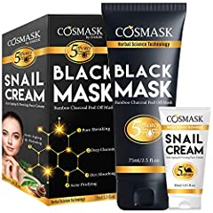 Package included:1-) Black Mask (2.5 fl.oz/ 75ml)2-) Snail Creaam (1.01 fl.oz/30ml)ALL NATURAL INGREDIENTS:Formulated without petrolatum. Includes Bamboo Charcoal, Biotin (Vitamin H), Horse Chestnut, Allantoin, Niacinamide (Vitamin B3)...
