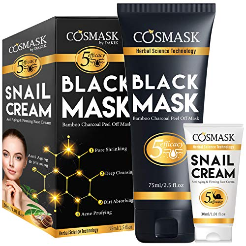 LUA LUA COSMASK Blackhead Remover Mask,Bamboo Charcoal Peel Off Black Mask,Purifying and Deep Cleansing for All Skin Types with Snail Cream (The Best Blackhead Removal Mask)