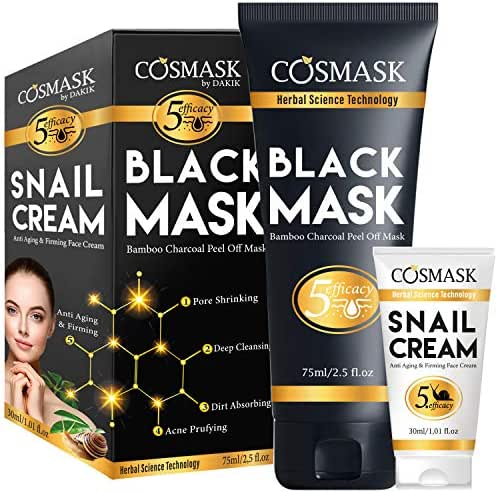 LUA LUA COSMASK Blackhead Remover Mask,Bamboo Charcoal Peel Off Black Mask,Purifying and Deep Cleansing for All Skin Types with Snail Cream