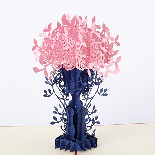 Flower Bouquet & Vase Pop Up Card by GalaxyPop, 3D Birthday Card, Father's Day, Mother's Day Card, Dating, Love, Anniversary, Valentine, Graduation, Get Well, Wedding, Engagement, Pink Romantics ()