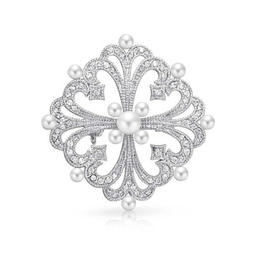 Bling Jewelry Simulated Pearl CZ Vintage Style Brooch Pin Rhodium Plated