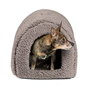 """Best Friends by Sheri Pet Igloo Hut, Sherpa / Ilan / Lux - Cat and Small Dog Bed Offers Privacy and Warmth for Better Sleep - Waterproof, Dirt-Resistant Bottom, Washer and Dryer Safe - 17x13x12"""" - For Pets 9lbs or Less"""