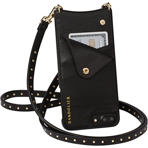 Phone Case For iPhone 8, 7 & 6 - GOLD Mini Metal Studs & Luxury Black Genuine Leather Phone Wallet for Cards & Cash. Cell Crossbody Detachable Strap. Carry Mobile Handsfree. Natalie By Bandolier by Bandolier (Image #2)