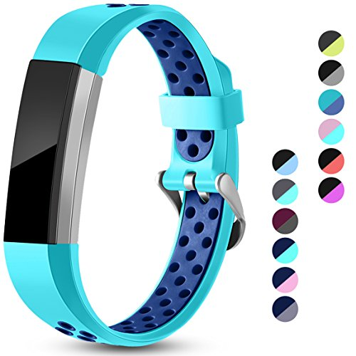 Maledan Replacement Bands Compatible for Fitbit Alta, Fitbit Alta HR and Fitbit Ace, Accessory Sport Bands Air-Holes Breathable Strap Wristbands with Stainless Steel Buckle, Teal/Blue, Large