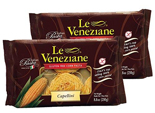 Gluten Free Corn Pasta - Le Veneziane Capellini- Gluten Free Pasta, 8.8 oz (2 Pack)