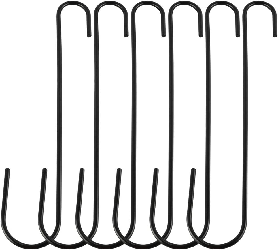 FEED GARDEN 12 Inch Metal Hanging S Hooks, 1/5 Inch Diameter Rust Resistant Tree Branch Hook for Bird Feeders and Baths, Planters, Lanterns, Ornaments and More, 6 Pack