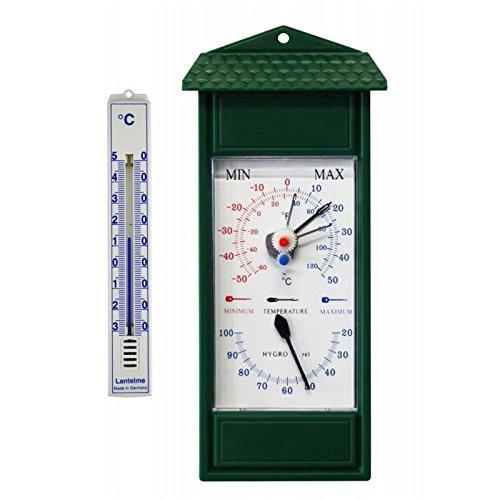 Lantelme Min/max al aire libre, jardín higrómetros y termómetros bimetálicos análogos. termómetro jardín mínima máxima temperatura de - 50 ° c a 50 ° c. hygro thermo metro color verde