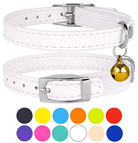 CollarDirect Leather Cat Collar, Cat Safety Collar with Elastic Strap, Kitten Collar for Cat with Bell Black Blue Red Orange Lime Green (Neck Fit 9