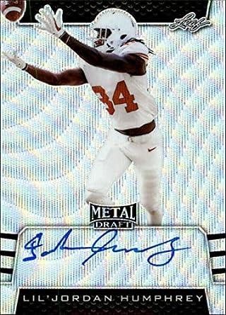 5f2ead35caab5 Amazon.com: 2019 Leaf Metal Draft Autograph Wave Silver Football #BA ...