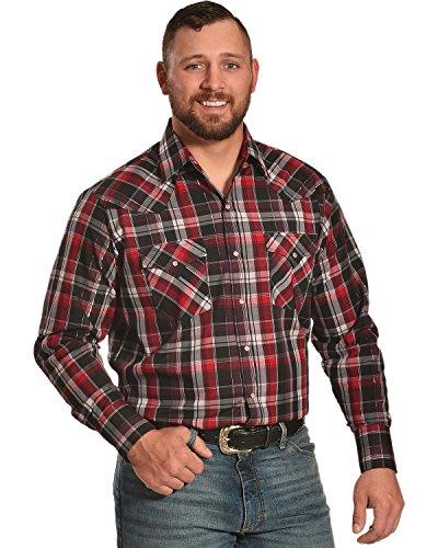 ELY CATTLEMAN Men's Lurex Plaid Shirt Red Medium (Shirt Plaid Lurex)