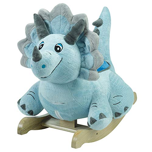 (Fossil Dinosaur Rocker | Horse Plush Butterfly Baby Toy with Wooden Rocking Chiar Horse/Kid Rocking Toy/Baby Rocking Horse/Rocker/Animal Ride)