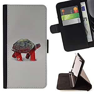 DEVIL CASE - FOR Samsung Galaxy A3 - Funny Turtle Tortoise - Style PU Leather Case Wallet Flip Stand Flap Closure Cover