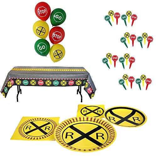 Havercamp Railroad Party Bundle | Dinner & Dessert Plates, Luncheon & Beverage Napkins, Table Cover, Balloons, Picks | Great for Kid's Birthday Party, Train Collector's Event ()
