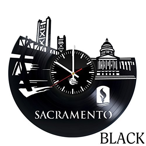 Sacramento Skyline Vinyl Record Wall Clock - Get unique home room wall decor - Gift ideas for friends, men and women - City Unique Art Design - Leave us a feedback and win your custom clock -