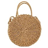 Handwoven Round Rattan Bag Shoulder Leather Straps Natural Chic Hand Round Straw Beach Bag (Coffee color)