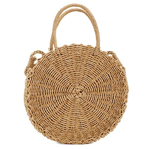 Handwoven Round Rattan Bag Shoulder Leather Straps Natural Chic Hand Round Straw Beach Bag (Coffee color) by CAMUSX