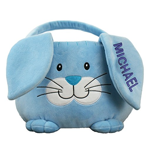 Embroidered Plush Blue Bunny Personalized Easter Basket, 10